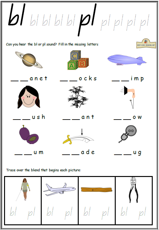 Blends and Digraphs Activities Worksheets KeepKidsReading – Blend Worksheets
