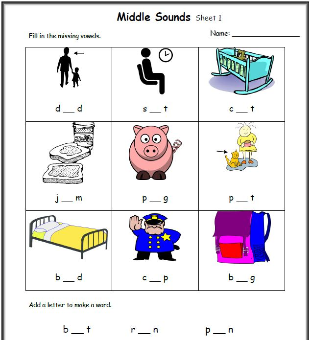 CVC Worksheets Printable Work Sheets KeepKidsReading – Vowel Sound Worksheets