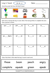 Long Vowel Worksheet