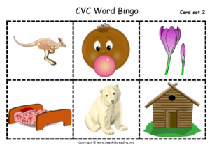 CVC word Bingo Cards