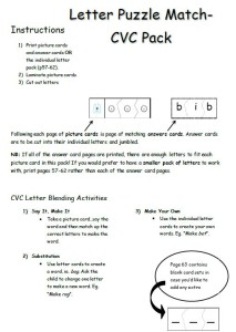 cvc letter match-up Instructions