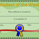 student of the week 1 certificates and awards