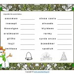 christmas worksheet word jumble