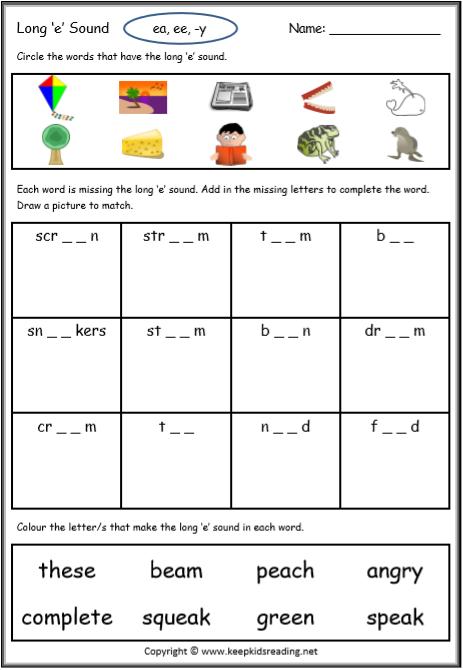 Long Vowel Worksheet